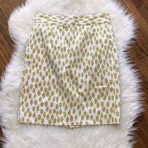 J. Crew Printed Stretch Cotton Sateen Pencil Skirt
